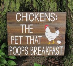 If someone would like to raise chickens, it's smart to make sure that they set up a chicken coop that meets their own requirements. Make sure you locate the best designs for you to construct your own. Chicken Coop Signs, Chicken Humor, Building A Chicken Coop, Chicken Coops, Funny Chicken Memes, Chicken Race, Chicken Quotes, Pallet Art, Pallet Signs
