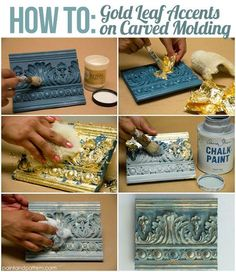 How to use chalk paint, wax, and leaf to create different effects on carved molding.