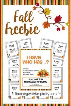 Classroom Freebies: Thanksgiving I have... Who has...