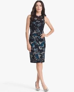 Women's Sleeveless Embroidered Mesh Sheath Dress by WHBM