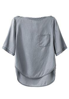 3.1 Phillip Lim, boatneck silk twill t-shirt, curved hem