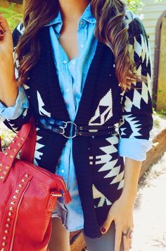 Love this layered look - chambray shirt + Aztec sweater!