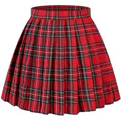 Amazon.com: Beautifulfashionlife Women`s Plaid Pleated Skirts... ($22) ❤ liked on Polyvore featuring costumes, womens costumes, black and white costume, red halloween costumes, ladies halloween costumes and black and white halloween costume