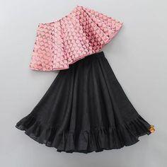 Pre Order: Pink One Shoulder Top With Black Skirt Source by rinkugohel Blouses Kids Indian Wear, Kids Ethnic Wear, Kids Dress Wear, Kids Gown, Kids Wear, Baby Frocks Designs, Kids Frocks Design, Baby Girl Party Dresses, Little Girl Dresses