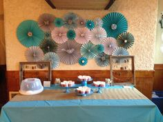 Paper Rosette Backdrop for birthdays by lizziebsthisandthat