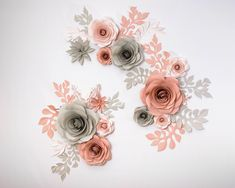 Paper Flower Backdrop of Gray Pink Blush Roses - Large Paper Flowers - Wedding Backdrop - Flower Wall - Giant Paper Flowers - Pink and Grey by PapierDeco on Etsy https://www.etsy.com/listing/566059090/paper-flower-backdrop-of-gray-pink-blush