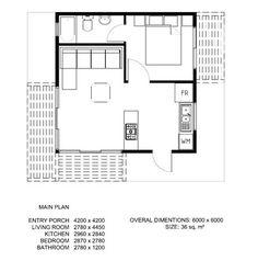 Plano loft de un piso 36m2 9m2 terraza planos for Cube house design layout plan