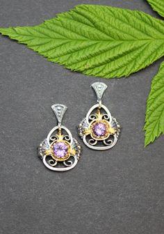 Dirndl Schmuck Ohrringe Sonja mit Amethyst Belly Button Rings, Gold, Jewelry, Fashion, Ear Jewelry, Studs, Gems, Earrings, Silver