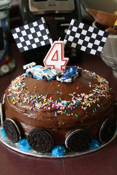 Race car cake creation.                                                                                                                                                                                 More