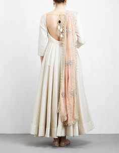 Anarkali dress pattern - Off White and Peach Anarkali Set Kurta Designs, Lehenga Designs, Kurti Designs Party Wear, Latest Anarkali Designs, Indian Fashion Dresses, Indian Gowns Dresses, Dress Indian Style, Indian Designer Outfits, Flapper Dresses