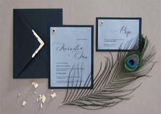 black and gold wedding invitations, czarne zaproszenie, złocona koperta, miodunka papeteria Wedding Stationery, Wedding Invitations, Wedding Invitation
