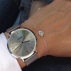 cluse watch full silver