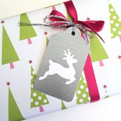 Silver Christmas reindeer gift tags  #makeforgood #becauseIamagirl Fundraiser. Swing tags/hanging tags. Xmas, Noel, thank you gifts, gift idea. Silver white. by My Paper Planet on Etsy.