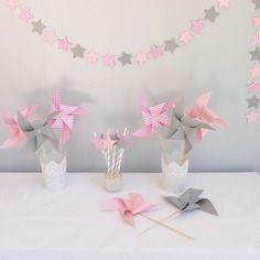 8 moulins à vent, coloris gris, rose, et blanc : Accessoires de ...