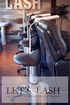 Stylist saddle stool chairs at Let's Lash eyelash extension studio located in Scottsdale, AZ. www.letslash.com