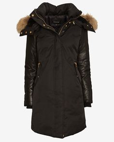 LOVE Mackage!!! Mackage EXCLUSIVE Leather Sleeve Fur Hood Long Puffer Jacket @Intermix