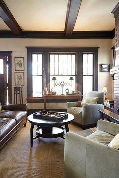 Tour this Craftsman Home in Atlanta, Georgia - window, door framing, ceiling wood beams