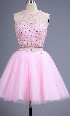 Charming Prom Dress, Pink, Two Piece, Homecoming Dress,Tulle Homecoming Dresses…
