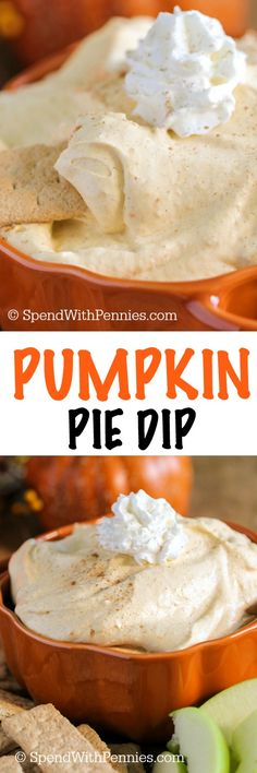 this recipe: This Fluffy Pumpkin Pie Dip delivers tons of fall flavor in a fluffy no bake dip! Pumpkin & warm spices combined with a rich creamy base makes the perfect dip for apples, bananas and more! Dip Recipes, Fall Recipes, Holiday Recipes, Cooking Recipes, Recipies, Sukkot Recipes, Summer Recipes, Pumpkin Pie Dip, Pumpkin Dessert