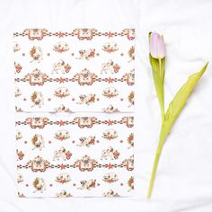 Tattooed Pugs Wrapping Paper - Two Sheets (dog, birthday, Christmas, tattoos, roses, red, green)