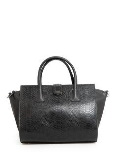 Snake-effect tote bag - Women   MANGO