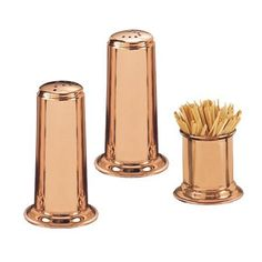 The beautiful Old Dutch in. Solid Copper Salt and Pepper Set with in. Toothpick Holder features salt and pepper shakers as well as a matching. Rose Gold Kitchen, Copper Kitchen, Orange Kitchen, Copper Top Table, Black And Gold Bathroom, Gold Bathroom Accessories, Tabletop Accessories, House Accessories, Kitchen Accessories