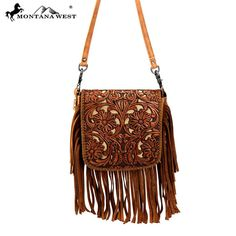 Montana West Genunine Leather Tooled Fringe Crossbody – Handbag-Addict.com