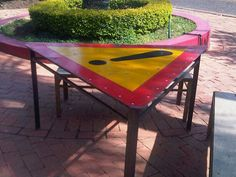 Tables made from road signs