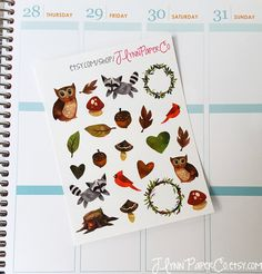New to JLynnPaperCo on Etsy: 23 Woodland stickers Water color Cute Stickers Planner Stickers Pretty Colorful Erin Condren ECLP (2.00 USD)