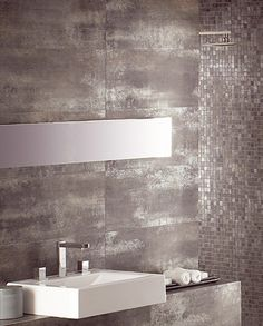I would use this titanium tile interspersed in patterns with black. This would be in designs on bright white. White Bathroom, Master Bathroom, Bathroom Interior Design, Design Thinking, Home Remodeling, Ideal Home, Tile Floor, New Homes, Flooring