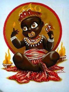 Infant Shango/Xangô, Orisha of justice, Lord of lightning and fire. By Claudia Krindges (Brazil). Shango Orisha, Orishas Yoruba, Saint Barbara, Black Art Pictures, Afro Art, Black Artists, Indigenous Art, Sacred Art, African Art