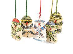 Christmas decoration, Snowman, Ceramic snowman ornaments,Handmade christmas decoration, Christmas hangers