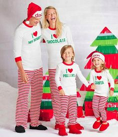 5d57e671a1 fashion letters printed white shirts + red and white striped pants santa  outfit for matching family christmas pajamas set