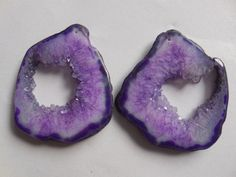 Amethyst Stalactite Earring Pair Tan and White Natural Stone Front Drilled Matched Pair
