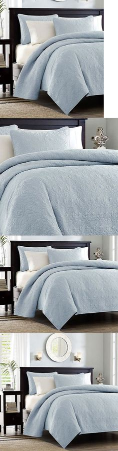 Quilts Bedspreads and Coverlets 175749: Sky Blue Matelasse 3Pc King Quilt Set : Cotton Fill Quilt Coverlet Bedding -> BUY IT NOW ONLY: $94.95 on eBay!