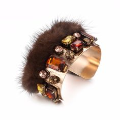 Fashion Colorful Imitation Crystal Inlaid Wide Cuff Bangles Womens Gold Plated With Fox Fur Elegant Open Bangles Jewelry