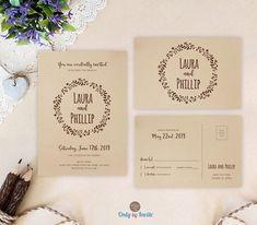 Kraft wreath wedding invitation sets PRINTED | Rustic wedding invitations with rsvp | Brown paper invitations | Bakyard country wedding