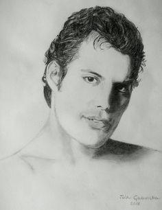 Freddie Mercury (Queen) pencil drawing by Gabriella Tóth