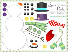 Discover. Create. Live.: Graphic Monday: Snowman Parts Assembly - free printable!