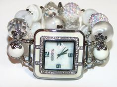 Bold and Beautiful White Chunky Beaded Watch by BeadsnTime