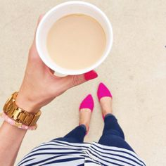 Stripes and pink flats