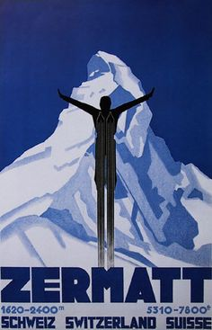 Vintage travel poster for Swiss ski resort - Zermatt  #vintage #travel #poster #suiza