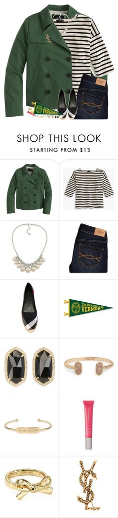 """I Got Into The University of Vermont!"" by teamboby ❤ liked on Polyvore featuring J.Crew, Carolee, Abercrombie & Fitch, Burberry, Kendra Scott, Stella & Dot, Kate Spade, Yves Saint Laurent and teambobylife"