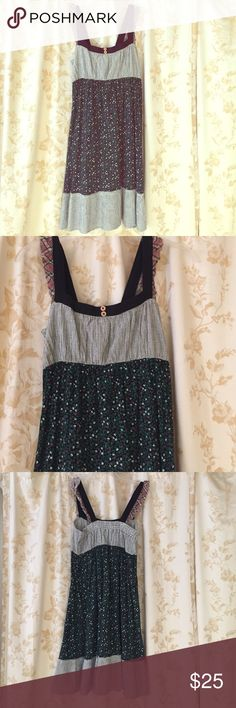 Cotton floral and gingham sundress 100% cotton dress with floral and gingham patterning and smock elastic back. New without tag, never been worn. Scrapbook Clothing Dresses Midi