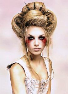 Are you looking for inspiration for your Halloween make-up? Browse around this site for scary Halloween makeup looks. Fantasy Hair, Fantasy Makeup, Maquillage Disney Pour Halloween, Steampunk Makeup, Steampunk Cosplay, Steampunk Hairstyles, Halloween Makeup Looks, Easy Halloween, Halloween Bride