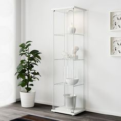 IKEA - DETOLF, Glass-door cabinet, white, With a glass-door cabinet you can show off as well as protect your glassware or your favourite collection. You can easily brighten up your display objects as the glass-door cabinet is designed to include lighting. Wine Glass Shelf, Glass Shelves Kitchen, Bookcase With Glass Doors, Glass Cabinet Doors, Glass Bookshelves, Curio Cabinets, New Furniture, Furniture Making, Shopping