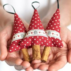 Made in the form of rustic Christmas trees with real cinnamon stick tree trunks for both the look and smell of a traditional Christmas. Description from craftjuice.com. I searched for this on bing.com/images
