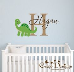 Dinosaur Wall Decals With Name For Nursery TREX And Baby Trex - Custom vinyl wall decals dinosaur