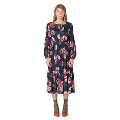 Studio by Preen Navy floral print frilled midi dress | Debenhams