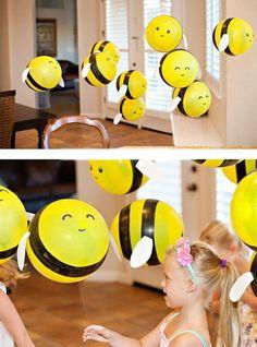 Einfache Bastelideen mit Ballons. Bee Crafts, Easy Crafts, Crafts For Kids, Fiesta Decorations, Balloon Decorations, Balloon Ideas, Bees For Kids, Bumble Bee Cupcakes, Bee Cookies